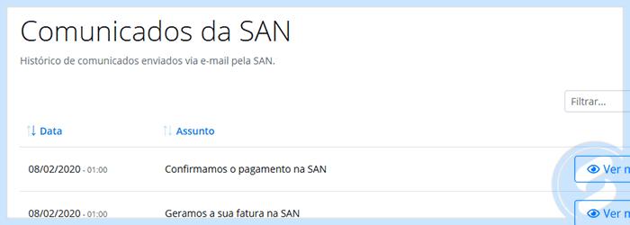 Emails enviados pela SAN na Área do Cliente