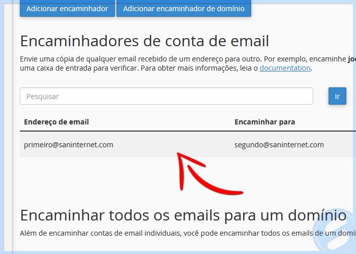 Lista de encaminhadores de e-mail no cPanel