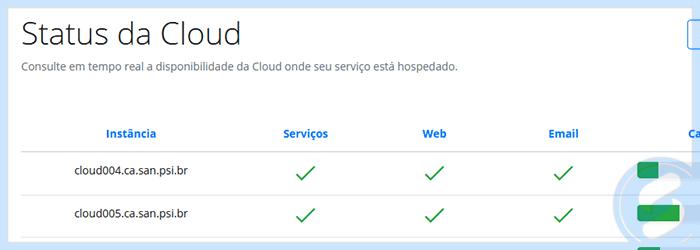 Status da Cloud na Área do Cliente