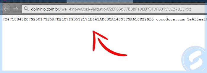 Arquivo de validação HTTP