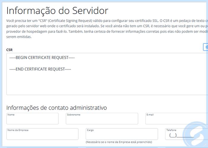 Tela de Configuração do SSL na Área do Cliente da SAN