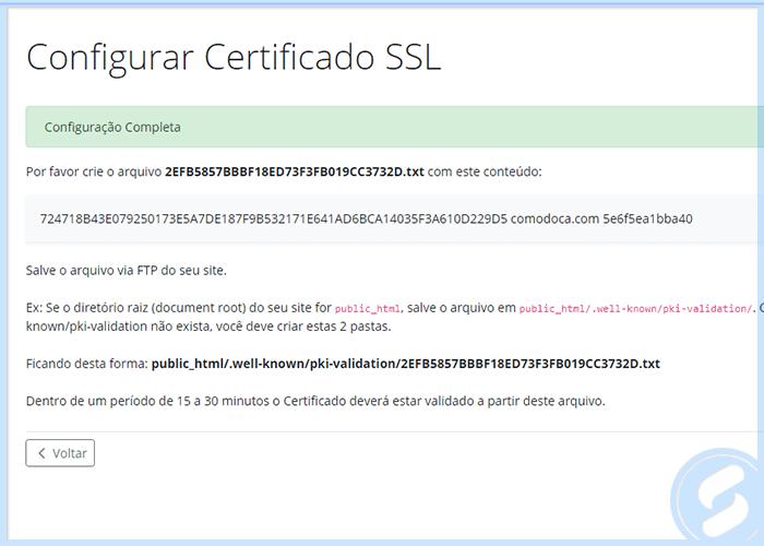 Instruções de validação HTTP do SSL na Área do Cliente da SAN