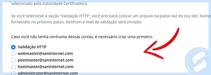 Formas de validação de SSL na Área do Cliente da SAN