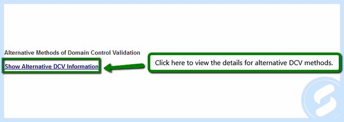 Alternative DCV Info